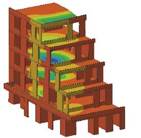Obr. 15 Nelineární model horních podlaží věže – průhyby v programu ATENA