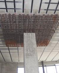 Obr. 35-2 Způsoby sanace stropních desek na protlačení - dodatečná betonová hlavice
