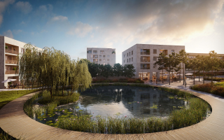 Pohľad na centrálnu oddychová zónu s jazierkom navrhovanú v rámci 2. etapy projektu
