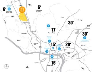 Poloha lokality Bory v rámci periférie Bratislavy s vyznačením automobilovej dostupnosti k významným bodom v rámci mesta