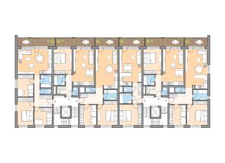 Pôdorys typického podlažia sekciového bytového domu z 1. etapy