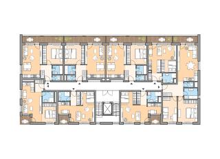 Pôdorys typického podlažia chodbového bytového domu z 1. etapy