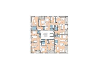 Pôdorys typického podlažia bodo- vého bytového domu z 2. etapy