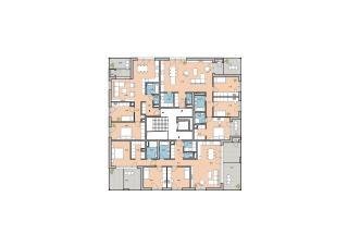 Pôdorys 6.NP bodového bytového domu z 2. etapy