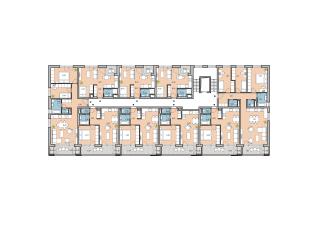Pôdorys typického podlažia chodbového bytového domu z 2. etapy