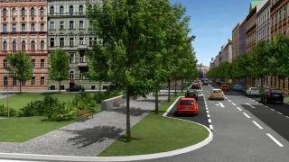 Obr. 03 Zklidnění Legerovy ulice – vizualizace