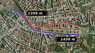 Obr. 07 Trasa ražených dvoupruhových tunelů NRTM
