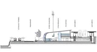 Řez výpravní budovou s podchodem a přednádražím