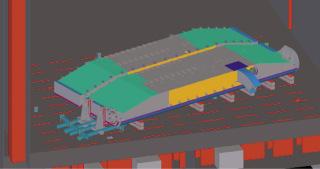 Obr. 09 Znázornění dolních vrat v horizontální poloze na roštu, výřez  z 3D modelu (zdroj: Metrostav a.s., EXCON, a.s., 2020)