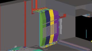 Obr. 10 Znázornění dolních vrat ve svislé poloze, výřez z 3D modelu (zdroj: Metrostav a.s., EXCON, a.s., 2020)