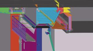 Obr. 11 Řez dolních vrat přes horní těsnicí stěnu a opěrný práh, výřez  z 3D modelu (zdroj: Metrostav a.s., EXCON, a.s., 2020)