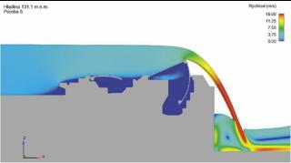 Obr. 14a Simulace jezového provozu na hydrodynamickém modelu horních vrat (zdroj: projektová dokumentace, AQUATIS, a.s., 2019)