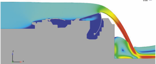 Obr. 14b Simulace jezového provozu na hydrodynamickém modelu horních vrat (zdroj: projektová dokumentace, AQUATIS, a.s., 2019)