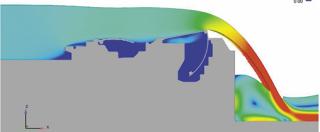 Obr. 14c Simulace jezového provozu na hydrodynamickém modelu horních vrat (zdroj: projektová dokumentace, AQUATIS, a.s., 2019)