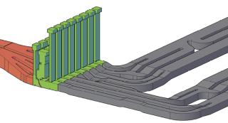 Obr. 07 Systém plnění a prázdnění plavebních komor, 3D model výtoku (zdroj: projektová dokumentace, AQUATIS a.s., STU v Bratislavě, 2019)
