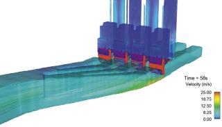 Obr. 08 Systém plnění a prázdnění plavebních komor, simulace proudění na výtoku, 3D model (zdroj: projektová dokumentace, AQUATIS a.s., STU v Bratislavě, 2019).