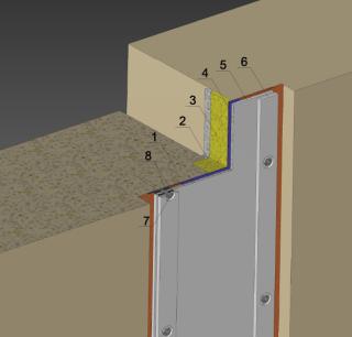 Obr. 15 Detail sanace dilatačních spár v komoře, výřez z 3D modelu;  1 – betonová konstrukce, 2 – vymezovací profil, 3 – injektáž, 4 – nalepený těsnicí pás, 5 – krycí profil, 6 – přítlačné lišty, 7 – kotvení, 8 – dilatační podložka (zdroj: Metrostav a.s., 2020)