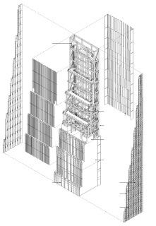 Obr. 11 Nosná konstrukce a opláštění koruny věže (zdroj: SHoP Architects)