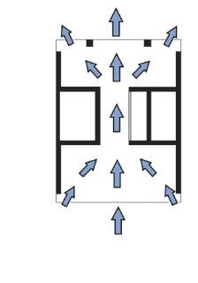 """Obr. 15 Půdorysné schéma """"dutých"""" pater umožňujících průchod větru (zdroj: WSP)"""