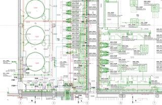 Koordinační výkres (půdorys) – ukázka automatizovaného výstupu z modelu