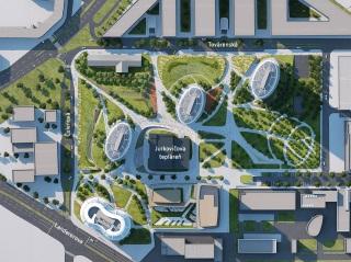 Mestský park o výmere 3,5 ha, ktorý sa rozprestiera medzi budovami