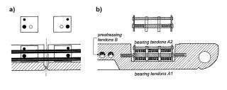 Obr. 03 Nosné (bearing) a předpínací (prestressing) kabely: a) podélný řez, b) příčný řez
