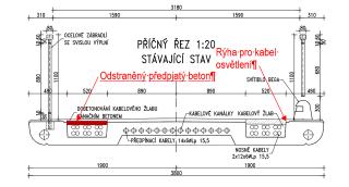 Obr. 20 Oprava lávky v roce 2006 – příčný řez