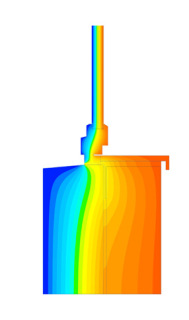 Obr. 3 Průběh teplot při použití ocelového úhelníku pro předsazenou montáž