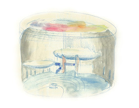 Skica interiéru kostela. Měkké a strohé křivky stavby vytvářejí odhmotněný vnitřní prostor tvarovaný světlem z horního prstencového okna (skica: Marek Jan Štěpán, 2015)