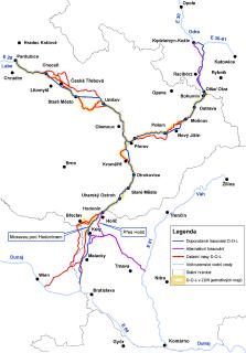 Přehled prověřovaných variantních trasování jednotlivých větví a jejich částí vodního koridoru Dunaj - Odra - Labe