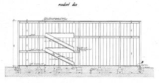 Výkres z původního projektu z roku 1933 – podélný řez
