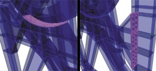 Obr. 7 Detail modelu přípojů otáčedla