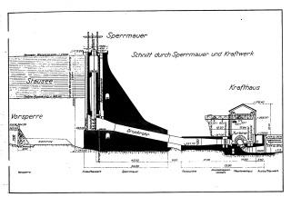 Obr. 4 Příčný řez hrází včetně elektrárny