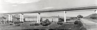 Návrh Nuselského mostu z předpjatého betonu od Jana Vítka a Miroslava Sůry, pohled