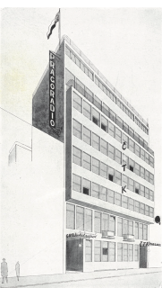 Návrh z užší soutěže na budovu ČTK v Praze, vypsané Ministerstvem veřejných prací roku 1927, kresba; budovu navrhli J. Fragner, J. Havlíček, E. Linhart, a P. Smetana
