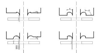 Obr. 3 Tvary profilovacích hlav montážního přípravku (rozměry byly vztaženy k trubce ø 18 × 1,5 mm). Poznámka: tvary profilovacích hlav mají zobrazenou alternativu zleva a zprava. Ve skutečnosti musí být samozřejmě hlava  osově symetrická. Zkosení vyfrézované stěny pravé části hlavy typu 3 zabrání problémům spojeným s oddělením hlavy přípravku od deformované trubky. Průměr předvrtání pro zasunutí trubky je 19,0 mm.