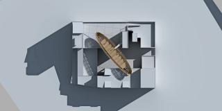 Pohled shora (nakloněný horizontální řez v ose vzducholodi), vizualizace