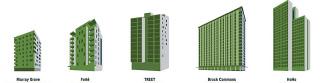 Obr. 2 Schematický vývoj tvaru a počtu podlaží realizovaných dřevostaveb