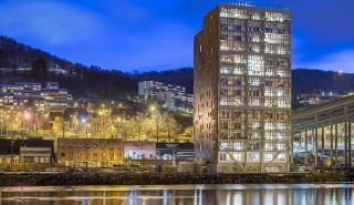 Obr. 5 Obytná budova Treet v norském Bergenu
