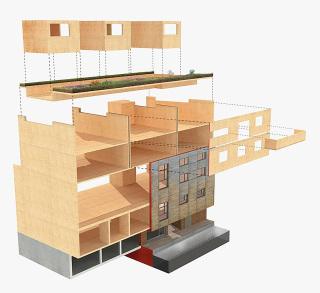 Obr. 07 Atypické použití panelů CLT na stropy a stěny